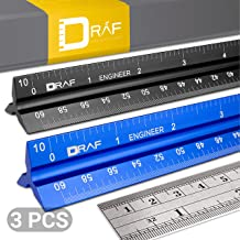 12-Inch Engineer Scale Ruler Set (Imperial) | Laser-Etched Aluminum Triangular Drafting Tool for Civil Engineering Blueprints | Standard Metal Ruler Included