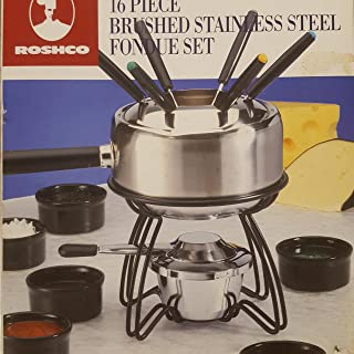 16 Piece Brushed Stainless Steel Fondue Set By Roshco