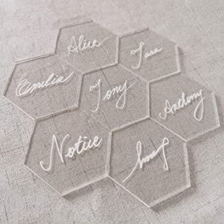JINMURY Clear Acrylic Place Cards for Weddings or Parties- 25pcs DIY Blank Table Seating, Hexagon Shape Name Cards- Perfect for Modern Wedding, Bridal Shower, Banquet Events
