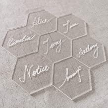 JINMURY 25 PCS Clear Acrylic Hexagon Place Cards- Laser Cut Acrylic Seating Cards Blanks Handwritten Calligraphy Name Cards Escort Cards and Morden Wedding Table Decor