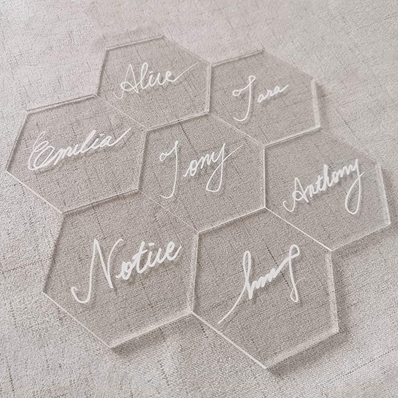 JINMURY Clear Acrylic Place Cards For Weddings Or Parties 25pcs DIY Blank Table Seating Hexagon Shape Name Cards Perfect For Modern Wedding Bridal Shower Banquet Events