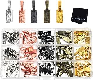 Mandala Crafts Glue on Bails for Pendant Jewelry Making, Cabochon Setting Mix Kit (Rectangular, Gunmetal, Antique Bronze, Rose Gold, Gold, Silver Tone)