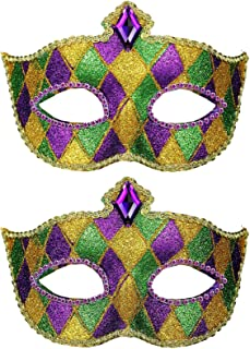 Sponsored Ad - 2 Pieces Mardi Gras Masquerade Mask Glitter Venetian Party Ball Prom Masks Women Men Party Costumes Accessory