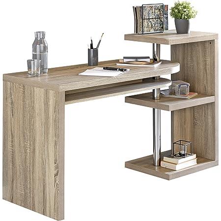 Wohnling Escritorio Larry 145 x 50 x 94 cm Oficina Mesa con Estante Sonoma, ángulo de Escritorio Giro Bar Maciza   Mesa de Ordenador con Bandeja   ...