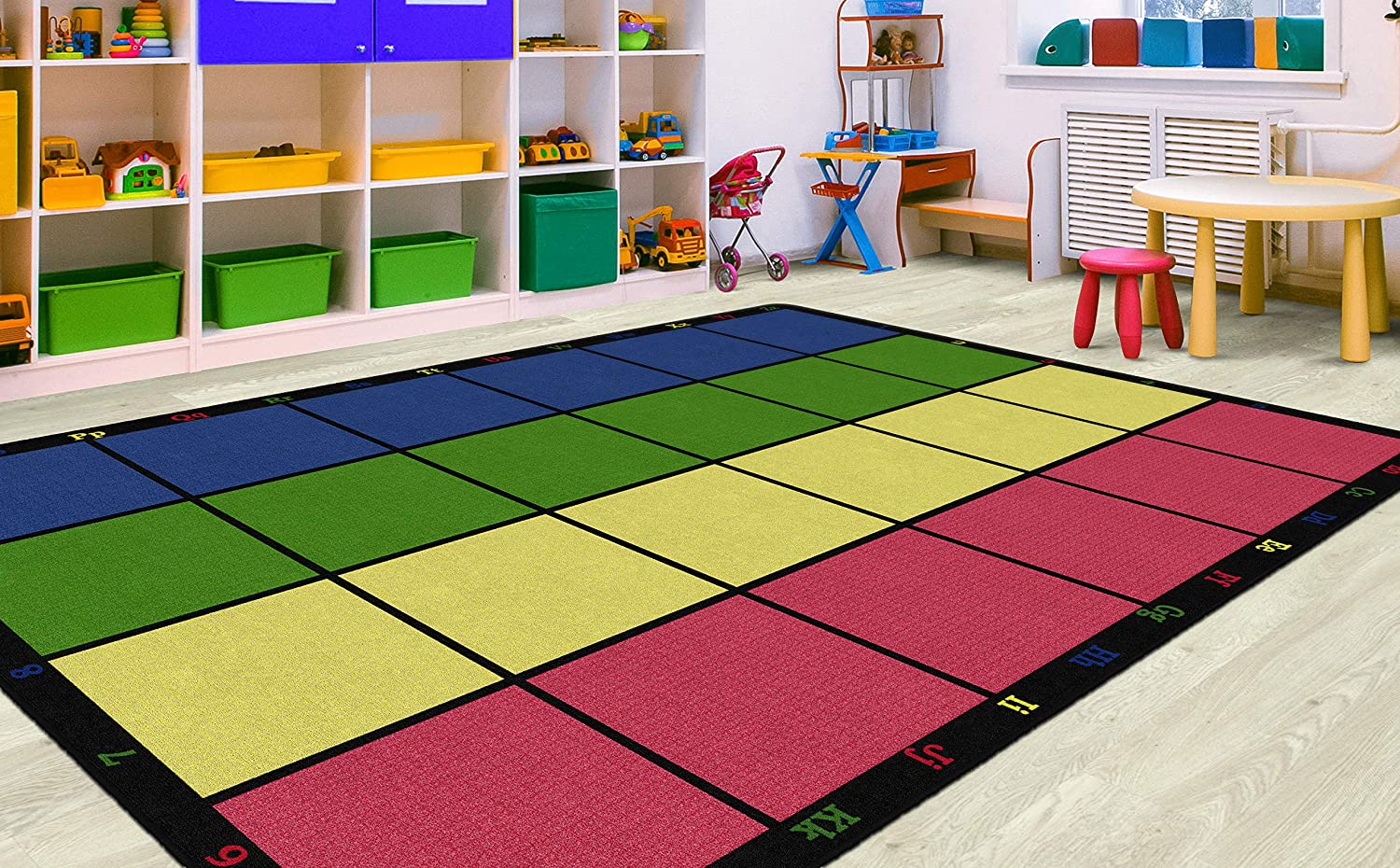 2. Learning Grid Numbers And Letters Seating Area Rug