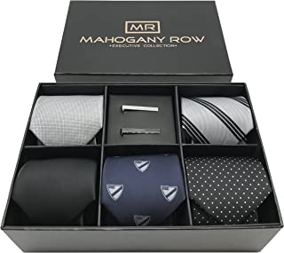 Necktie Collections in Gift Box, 5 Luxury Italian Neckties, 2 Modern Tie Bars, Designer Gift Box, The Must Have Gift Set