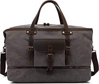 Canvas Duffle Bag for Travel, Duffel Overnight Weekend Bag,Large Size Canvas Handbag Leather Men