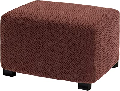 UFOTEX Ottoman Cover Stretch Folding Storage Stool Slipcover Furniture Protector Soft with Elastic Bottom XL Brown