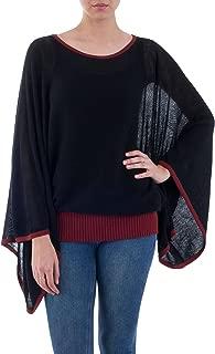 NOVICA Black Alpaca Blend Sweater, Black Burgundy Dance'