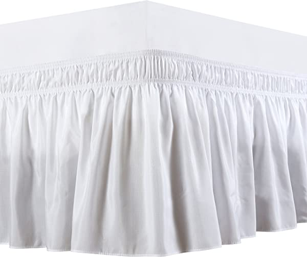 Biscaynebay Wrap Around Bed Skirts Elastic Dust Ruffles Easy Fit Wrinkle And Fade Resistant Silky Luxrious Fabric Solid Color White Queen 15 Inches Drop