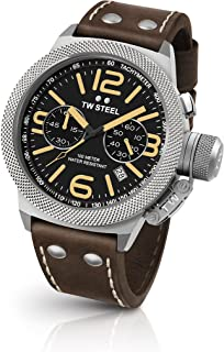 TW Steel CS34 Men's Canteen Brown Leather Strap Band Balck Dial Watch