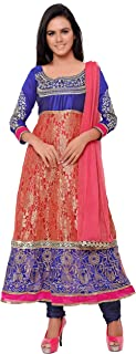 Florence Women's Pink Embroidered Semi Stitched Salwar SutI(SB-3157-NEW,Pink)