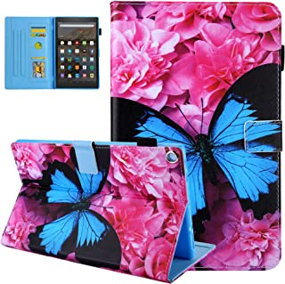 TiKeDa AMZ F i r e 7 case Folio PU Leather Smart Case Cover for K i n d l e F i r e 7 Inch Tablet (Fire 7 2015 and 2017 Release,5th/7th Generation) (Blue Butterfly)