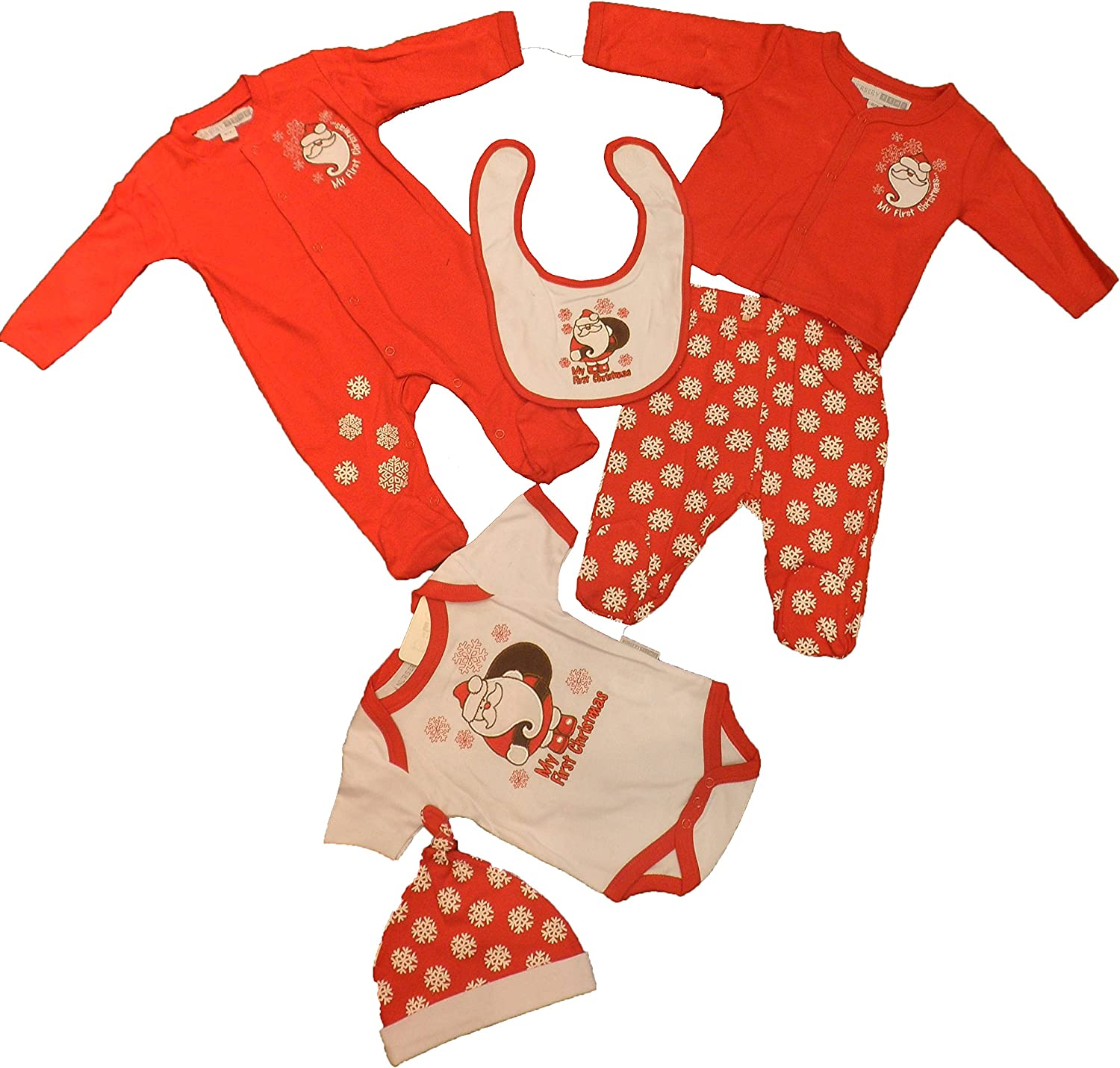 Baby Clothes Gift Set Sleepsuit Bodysuit Bib Christmas Soft Touch NB-3 3-6 6-9Ms