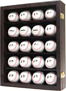 JackCubeDesign 20 Baseball Display Case Wall Mount Leather Cabinet Wood Shelf Sports Storage Acrylic Cover Rack with Protection 2 Knob(14.2 x 3.9 x 18 inches) – :MK104