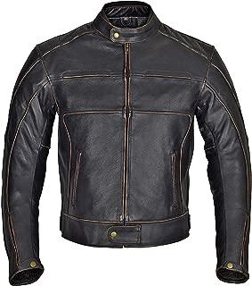 WICKED STOCK Men Motorcycle Armor Leather Jacket Vintage Style Charcoal Dark Brown MBJ024 (6XL)