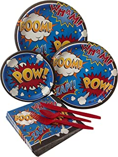 Superhero Comics Birthday Party Bundle with Paper Plates, Napkins, and Silverware for 8 Guests