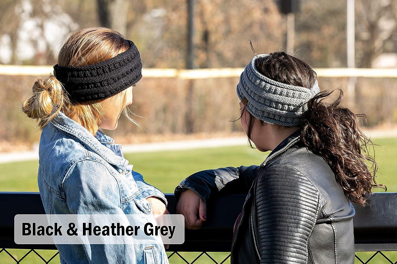 2-Pack Ponytail Headwrap - 4-Tone Black/Grey #31, Kaleidoscope #32