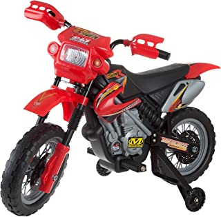 Kids Beginner Dirt Bike-Ride On Battery Powered Mini Motor Bike Toy with Training Wheels, Lights, and Sounds for Boys and Girls (Red)