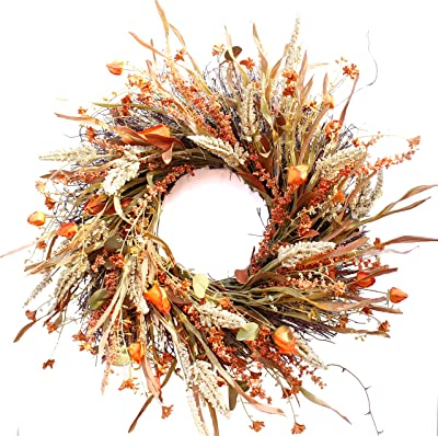 Honsky Fall Wreath 24 Inches with Wheat and Straw, Large Farmhouse Autumn Harvest Wreath for Front Door