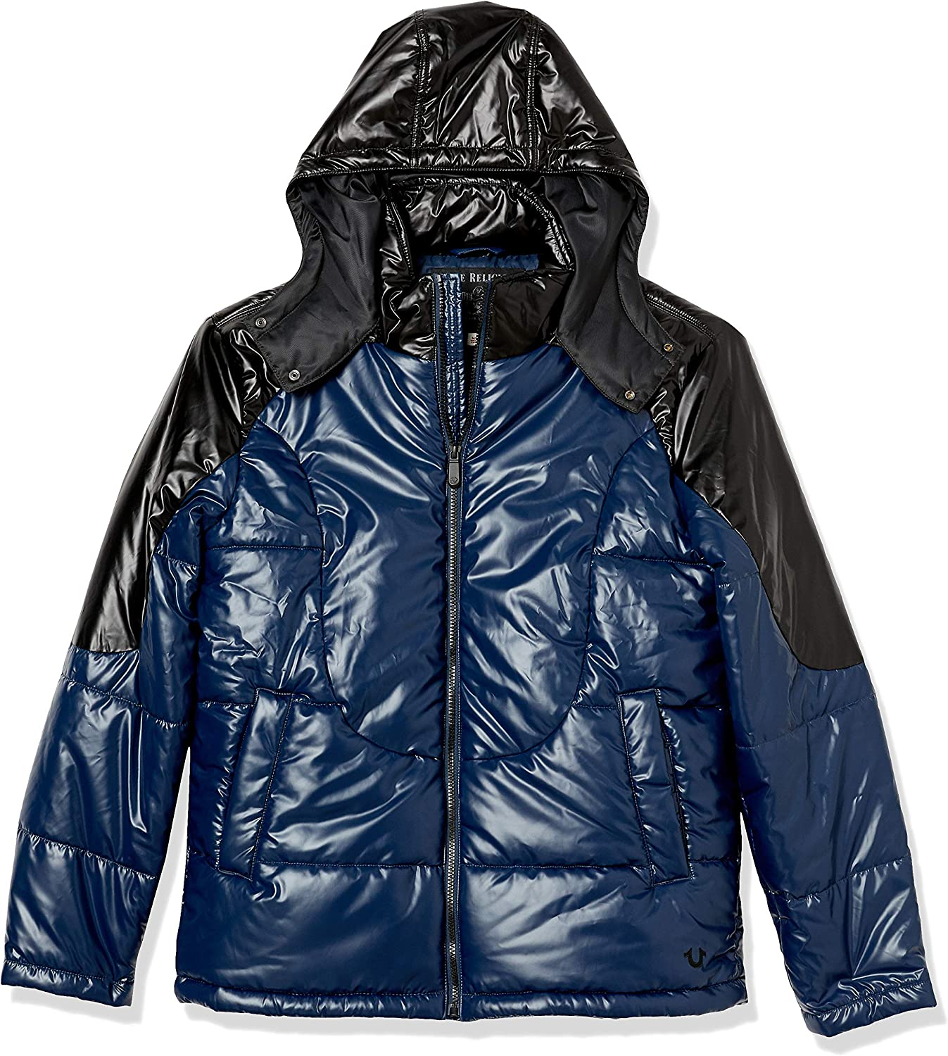 True Choice Outlet sale feature Religion Men's Hooded Shiny Jacket Long Puffer Sleeve
