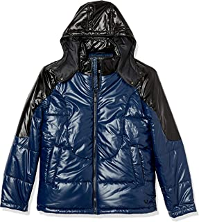 True Religion Men's Hooded Shiny Long Sleeve Puffer Jacket
