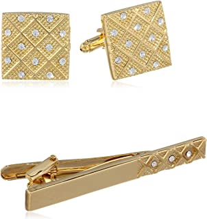 Men's Gold Cuff Link and Tie Bar With Crystals Set