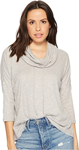 Corray Rib Knit Scrunched Neck Top