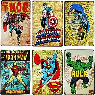 Monifith Vintage Superhero Tin Sign Bundle Hulk,Thor,Superman,American Captain,Iron Man,Batman Marvel Comics Distressed Christmas Retro Vintage Metal Tin Sign Wall Decor 6pcs-8x12inch