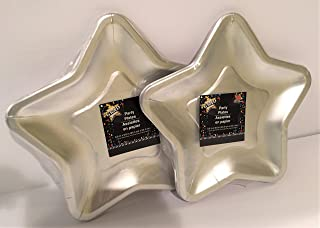 Star Shaped 9.6 Inch Foil Paper Party Plates, Set of 24 (Silver)