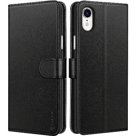 Vakoo Coque iPhone XR, Housse en Cuir Etui de Protection pour iPhone XR avec Emplacements pour Cartes, Fonction de Support - Noir