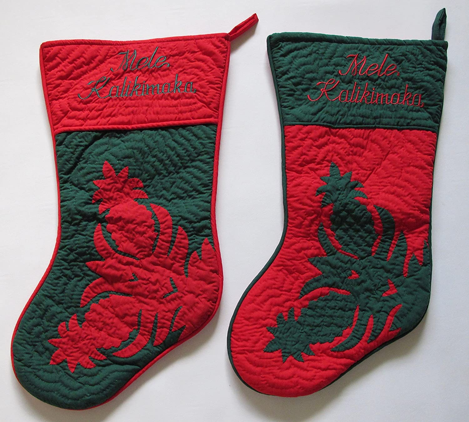 Set of 2 Large Hawaiian Quilt Hand Cash special Some reservation price Christmas H Stockings Quilted