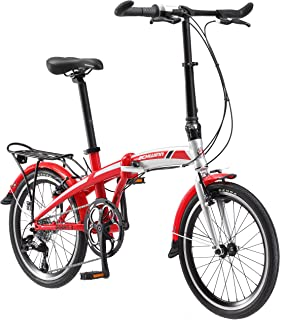 Schwinn Adapt Folding Bicycle Series, Great for City Riding and Commuting, Lightweight Aluminum Frame, Front and Rear Fenders, Rear Carry Rack, and Kickstand, Includes Carrying Bag, 20-Inch Wheels