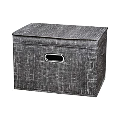 Large Foldable Storage Boxes With Lids Three Sizes,Dustproof And Moisture Resistant(Large ,Grey)