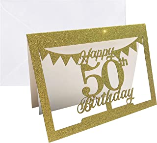 Gold Glitter 50th Cake Topper Shaped Birthday Card