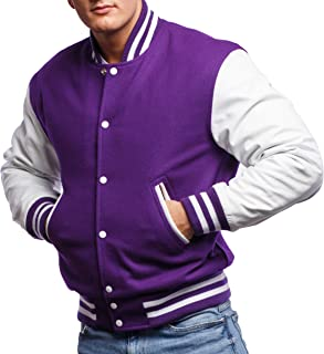 Varsity Base Letterman Jacket (10 Color Options) - Melton Wool Body & Premium Leather Sleeves - S to 2XL