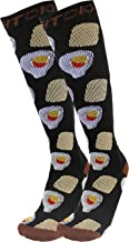Breakfast Eggs & Toast Graduated 15-20mmHG Knee High Compression Socks for Men & Women, Black/Brown
