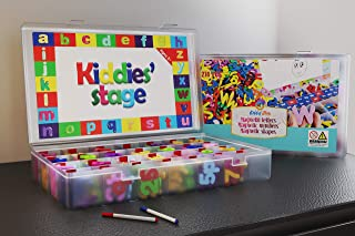 Kiddies' Stage 274 Pcs Magnetic Letters and Numbers with Shapes, Magnet Board, 2 Erasable Magnetic Pen, Eraser and Storage Box. Alphabet Magnets for Kids. Educational Toy Foam Magnetic Set
