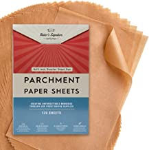 Quarter Sheet Pans 8x12 Inch Pack of 120 Parchment Paper Baking Sheets by Baker's Signature | Precut Silicone Coated & Unb...