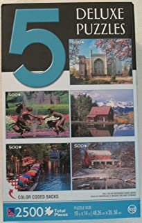5 Deluxe Jigsaw Puzzles - 2500 Total Pieces, Nature & Cultural Scenes in U.S. and Poland