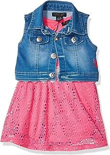 Baby Girl's 2 Piece Lace Fashion Dress and Denim Vest Set...
