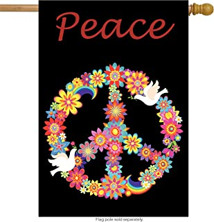 ShineSnow Love Peace Bird Flower House Flag 28