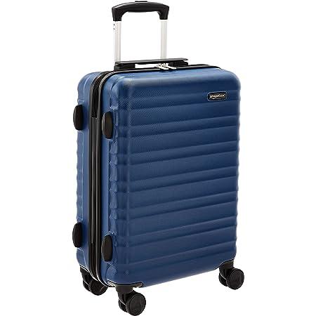 Amazon Basics - Maleta rígida con ruedas, 55 cm, tamaño para cabina, azul marino, apto para la mayoría de las aerolíneas de bajo coste