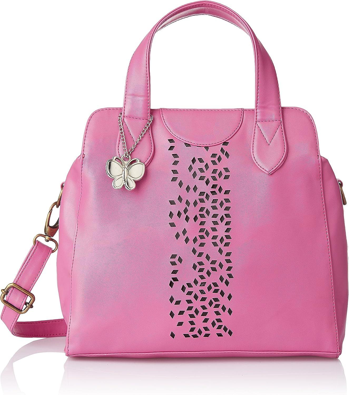 Butterflies Women's Handbag 12 in H X 11 in L X 6 in W Pink