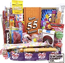VINTAGE CANDY CO. 55TH BIRTHDAY RETRO CANDY GIFT BOX - 1964 Decade Childhood Nostalgic Candies - Fun Funny Gag Gift Basket - Milestone 55 Birthday PERFECT For FIFTY FIVE Years Old Man | Woman
