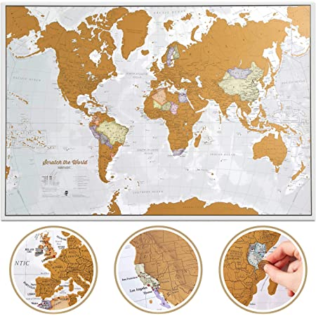 Scratch The World Travel Map - Scratch Off World Map Poster - X-Large 23 x 33 - Maps International - 50 Years of Map Making - Cartographic Detail Featuring Country & State Borders