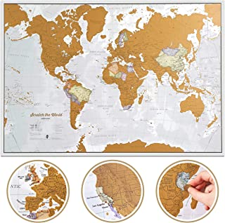 Maps International Scratch The World Travel Map – Scratch Off World Map Poster – Most Detailed Cartography -...