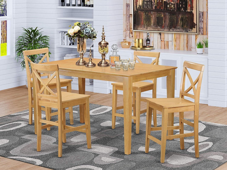 East West Furniture CAPB9H OAK C Mid Century Dining Table Set 9 Pc ...