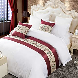 OSVINO Classic Floral Embroidered 100% Polyester Bed Runner Scarf Bedspread Protection for Bedroom Hotel, Red, Full/Queen
