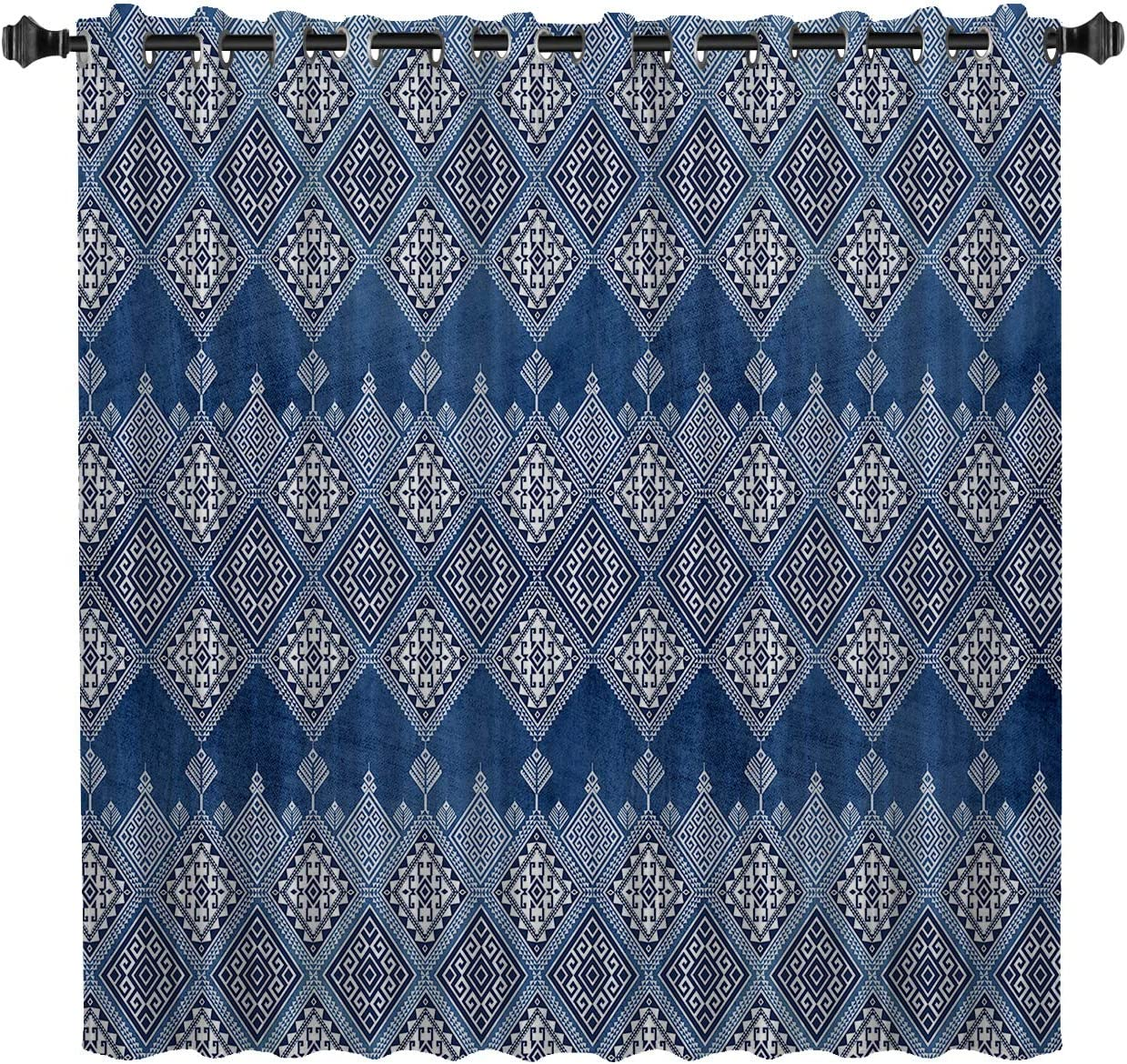 BedSweet Blackout Room Darkening Excellent Geometric Curtains Nat Max 46% OFF 52x90in